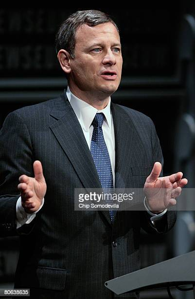 United States Supreme Court Chief Justice John Roberts addresses the dedication ceremony during the grand opening of the Newseum April 11, 2008 in...