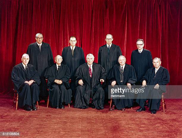 Justice John M Harlan Justice Hugo L Black Chief Justice Warren E Burger Justice William O Douglas Justice William J Brennan Jr Back row Justice...