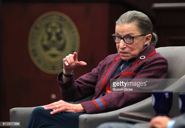 United States Supreme Court Justice Ruth Bader Ginsburg answers audience questions during an event at Roger Williams University Law School in Bristol...