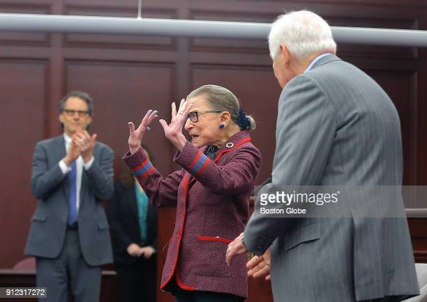 United States Supreme Court Justice Ruth Bader Ginsburg greets the crowd during an event at Roger Williams University Law School in Bristol RI on Jan...