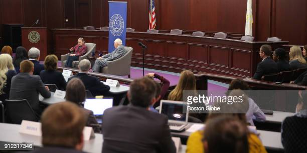 United States Supreme Court Justice Ruth Bader Ginsburg seated facing crowd at left answers audience questions during an event at Roger Williams...