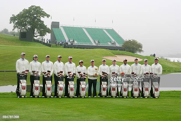United States Team Captain Corey Pavin holds the Ryder Cup during the team photocall at the 38th Ryder Cup Team Matt Kuchar Bubba Watson Dustin...