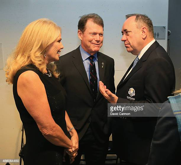 United States team captain Tom Watson and his wife Hilary talk to Alex Salmond First Minister of Scotland during the 2014 Ryder Cup Gala Concert at...