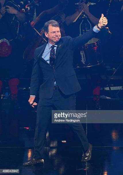 United States team captain Tom Watson gives the thumbs up as he walks out during the 2014 Ryder Cup Gala Concert at the SSE Hydro on September 24,...