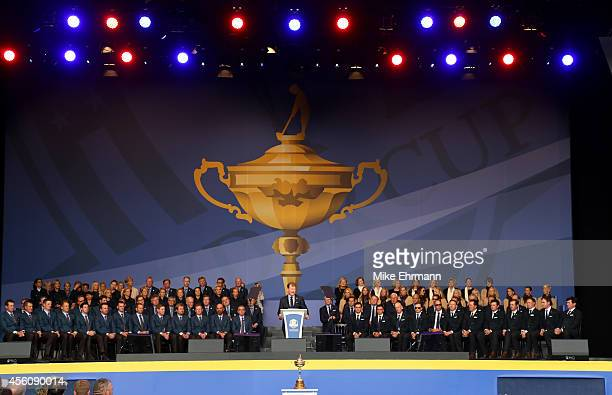 United States team captain Tom Watson speaks during the Opening Ceremony ahead of the 40th Ryder Cup at Gleneagles on September 25 2014 in...
