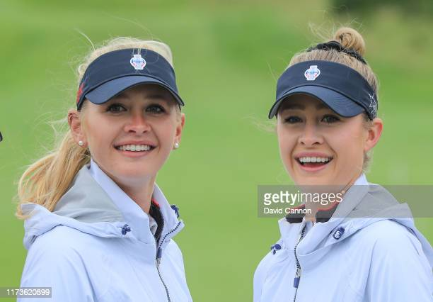 United States team players Jessica Korda and her sister Nelly Korda during the official photocall for the 2019 Solheim Cup to be held on the PGA...