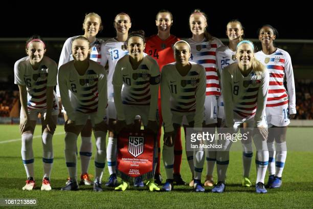 United States team pose for a photograph during the Women's International Friendly match between Scotland and United States at The Simple Digital...