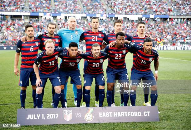 United States team poses for a photograph before an international friendly between USA and Ghana at Pratt Whitney Stadium on July 1 2017 in East...