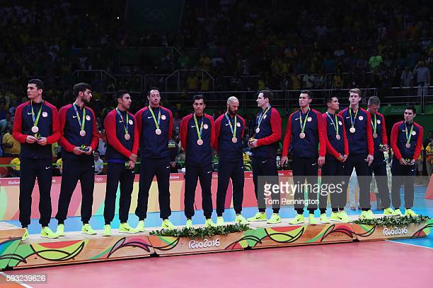 United States team seen with their bronze medals following the Men's Gold Medal Match between Italy and Brazil on Day 16 of the Rio 2016 Olympic...