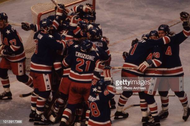 United States team vs Finnish team competing in the Men's ice hockey tournament at the 1980 Winter Olympics / XIII Olympic Winter Games Olympic...