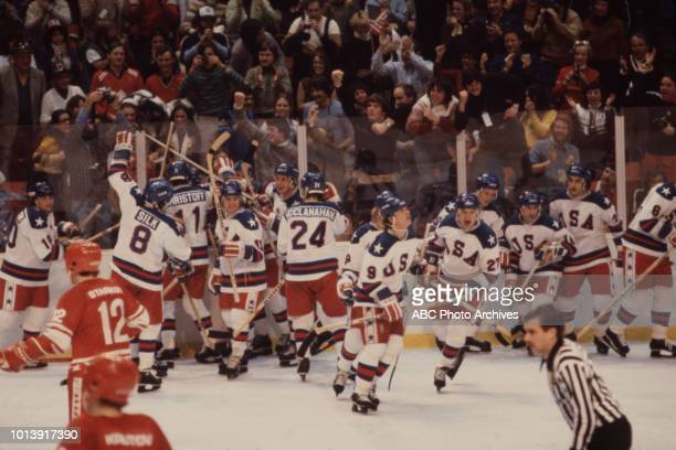 United States team vs Russian team, competing in the Men's ice hockey tournament, the 'Miracle on Ice', at the 1980 Winter Olympics / XIII Olympic...