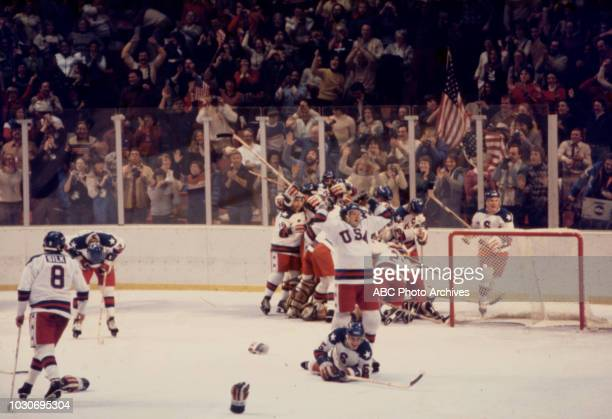 United States team vs Russian team competing in the Men's ice hockey tournament the 'Miracle on Ice' at the 1980 Winter Olympics / XIII Olympic...