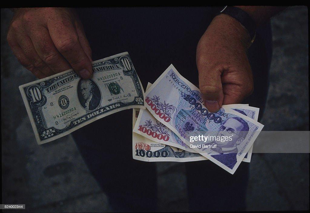 Ten Dollar Bill And Polish Currency