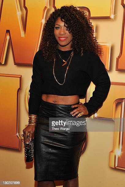 United States tennis player Serena Williams attends the world premiere of Tower Heist at the Ziegfeld Theatre on October 24 2011 in New York City