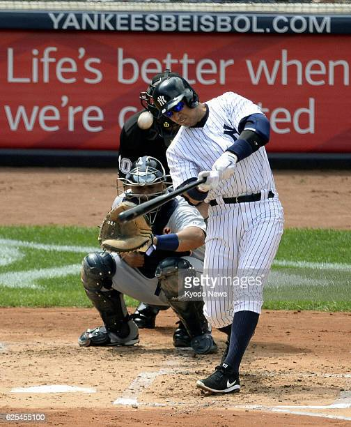 NEW YORK United States The New York Yankees' Alex Rodriguez hits his first homer of the season to left during the second inning of a game against the...