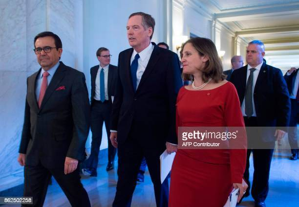 United States Trade Representative Robert Lighthizer Canadian Foreign Affairs minister Chrystia Freeland and Mexican Secretary of Economy Ildefonso...