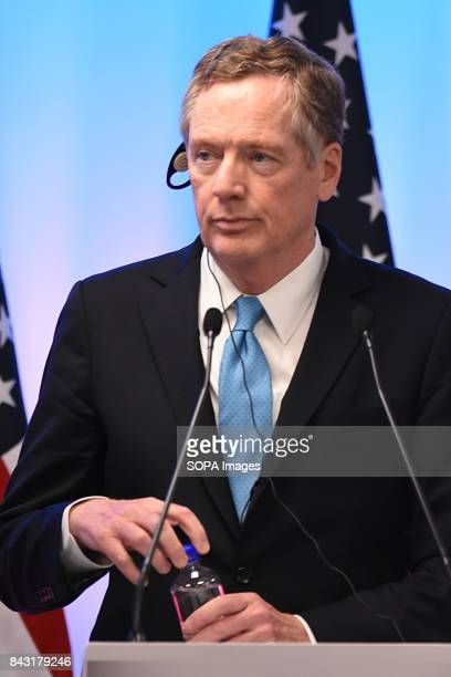United States Trade Representative Robert Lighthizer speaks during the press conference of NAFTA Negotiations The NAFTA is an agreement signed by the...