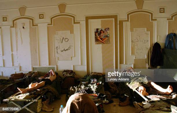 United States troops from the 101st Airbourne Division sleep in the Division Main Headquarters in one of Saddam Hussein's former palaces in Mosel...