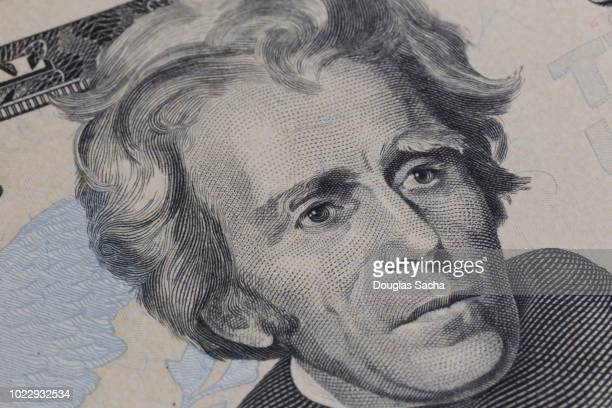 united states twenty-dollar bill  of u.s. currency with u.s. president andrew jackson - money texture fotografías e imágenes de stock