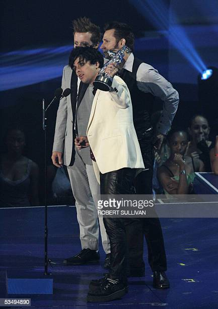 US band Green Day accept the best rock video award at the MTV music video awards in Miami 28 August 2005 Green Day won for their song Boulevard of...