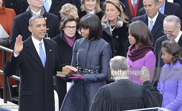 WASHINGTON United States US President Barack Obama takes the oath of office for a second term at the US Capitol in Washington on Jan 21 2013 To the...