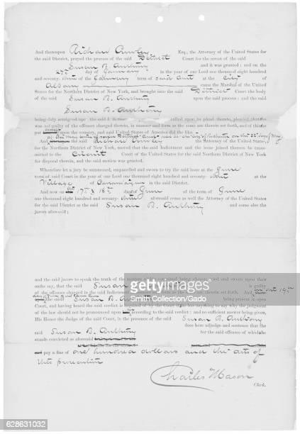 United States versus Susan B Antony Record of Conviction, 1873. .