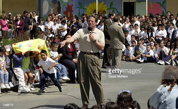 United States Vice President Al Gore talks to students May 11 2000 during a daylong visit to Elizabeth Learning Center in the Los Angeles area...