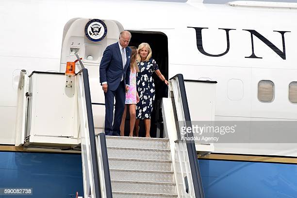 United States Vice President Joe Biden his wife Jill and their granddaughter Natalie disembark the plane as they arrive in Belgrade Serbia 16 August...