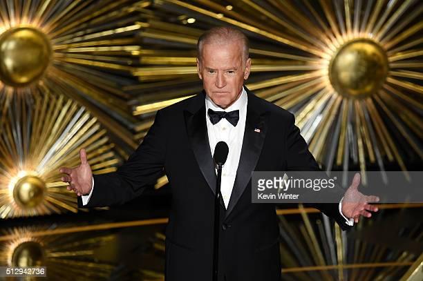 United States Vice President Joe Biden speaks onstage during the 88th Annual Academy Awards at the Dolby Theatre on February 28 2016 in Hollywood...