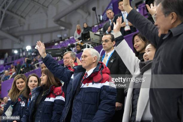 United States Vice President Mike Pence , his wife Karen , President of South Korea Moon Jae-in and Kim Jung-sook, the wife of President Moon, wave...