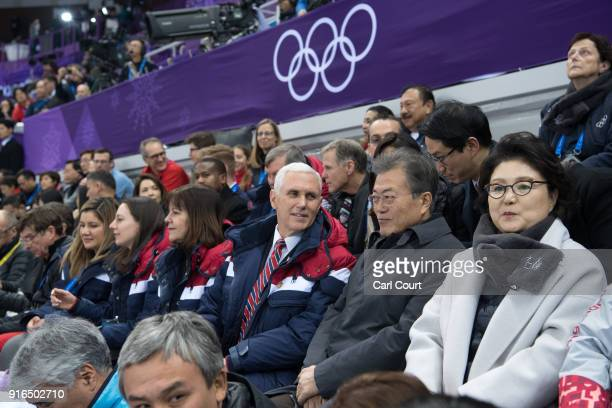 United States Vice President Mike Pence his wife Karen President of South Korea Moon Jaein and Kim Jungsook the wife of President Moon watch short...