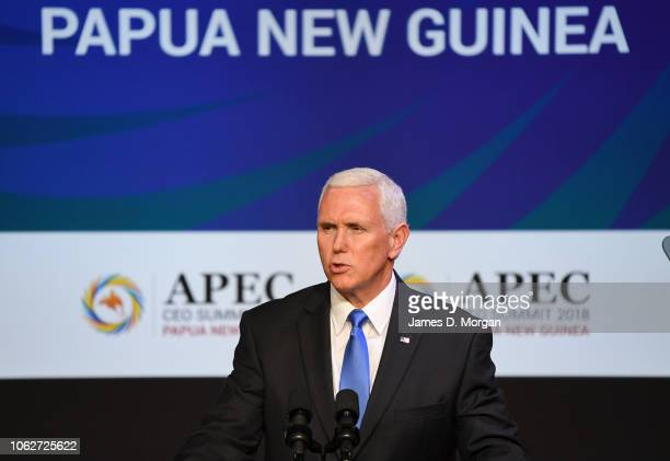 United States Vice President Mike Pence speaks at the APEC CEO Summit on board PO Cruises' Pacific Explorer cruise ship on November 17 2018 in Port...