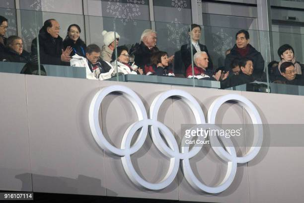 United States Vice President Vice President Mike Pence watches the opening ceremony of the PyeongChang Winter Olympics along with Kim Yojong the...