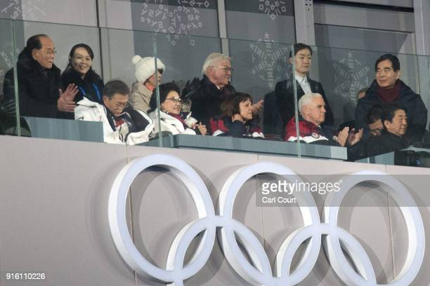United States Vice President Vice President Mike Pence watches the opening ceremony of the PyeongChang Winter Olympics along with Kim Yo-jong, the...