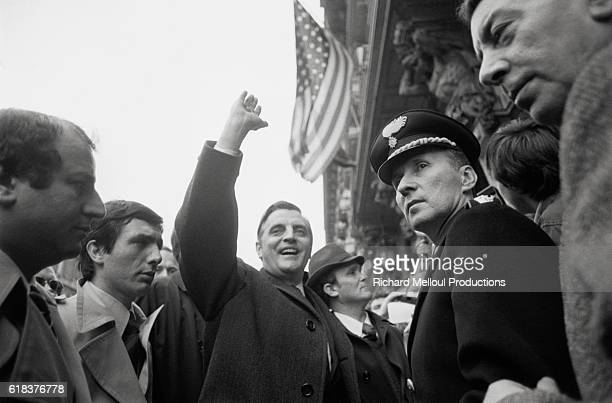 United States Vice President Walter Mondale waves to supporters in Rome Mondale was Vice President of the Carter administration which began its term...
