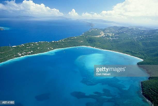 United States Virgin Islands, Saint Thomas, Magen's Bay, aerial