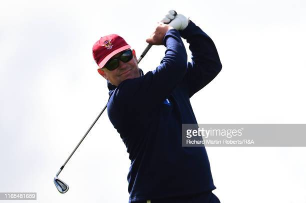United States Walker Cup Team Captain Nathaniel Crosby tees off during a practice round at Royal Birkdale Golf Club prior to the 2019 Walker Cup on...