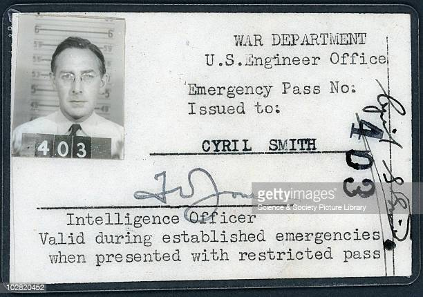 United States War Department Emergency Pass 1945 Emergency Pass issued by the War Department US Engineer Office to Cyril [Stanley] Smith Plastic...