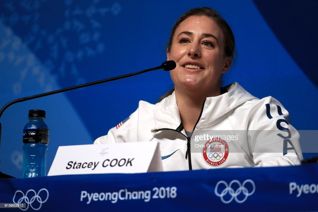 United States Women's Alpine Speed Skier Stacey Cook attends a press conference at the Main Press Centre during previews ahead of the PyeongChang 2018 Winter Olympic Games on February 8, 2018 in Pyeongchang-gun, South Korea.