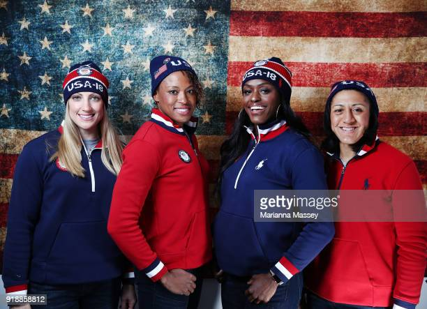 United States Women's Bobsled team Jamie Greubel Poser Lauren Gibbs Aja Evans and Elana Meyers Taylor pose for a portrait on the Today Show Set on...