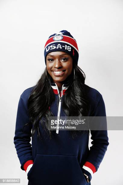 United States Women's Bobsled team member Aja Evans poses for a portrait on the Today Show Set on February 15 2018 in Gangneung South Korea