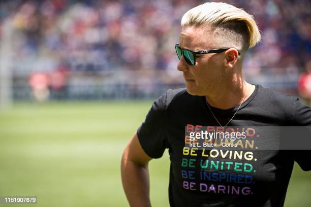 United States Women's legend Abby Wambach wears a shirt that states Be Proud Be Human Be Loving Be United Be Inspiring Be Daring as she is honored by...
