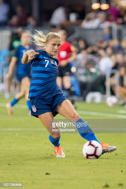 United States Women's National Team Defender Abby Dahlkemper makes a cross during the United States Women's National Team against Chile on September...