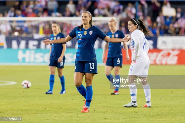 United States Women's National Team Forward Alex Morgan questions a call by the referee during the United States Women's National Team against Chile...