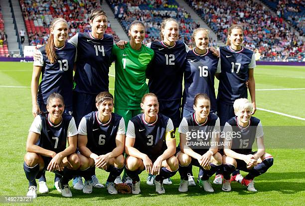 United State's women's Olympic football team Alex Morgan Abby Wambach Hope Solo Lauren Cheney Rachel Buehler Tobin Heath Shannon Boxx Amy LePeilbet...