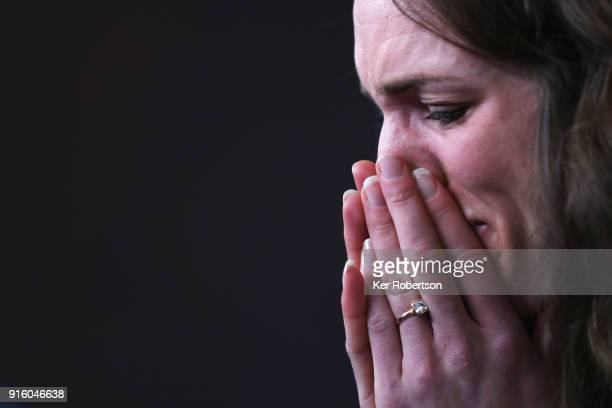 United States Women's Ski Jump athlete Abby Ringquist reacts while attending a press conference at the Main Press Centre during previews ahead of the...