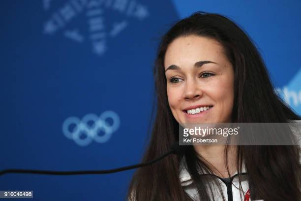 United States Women's Ski Jump athlete Sarah Hendrickson attends a press conference at the Main Press Centre during previews ahead of the PyeongChang...