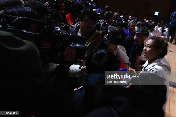United States women's snowboarder Chloe Kim attends a press conference at the Main Press Centre during previews ahead of the PyeongChang 2018 Winter...