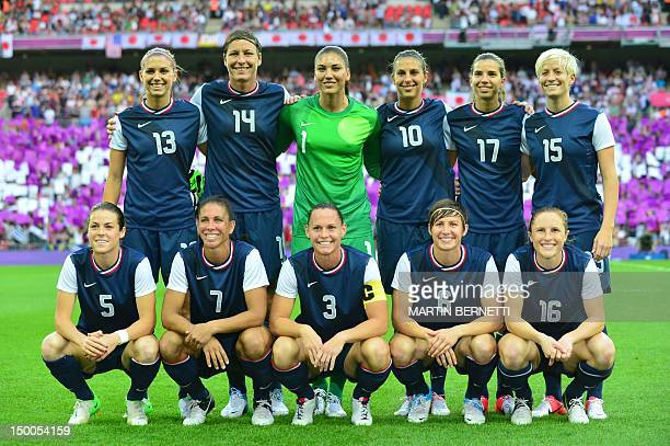 United States's forward Alex Morgan United States's forward Abby Wambach United States's goalkeeper Hope Solo United States's midfielder Carli Lloyd...