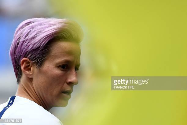 United States's forward Megan Rapinoe looks on during the France 2019 Women's World Cup round of sixteen football match between Spain and USA on June...